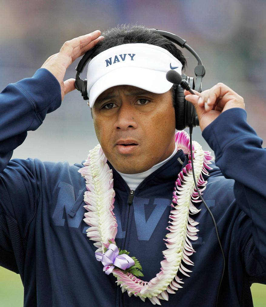 """Our players weren't taking responsibility for the game, and we were blaming other people,"" Navy coach Ken Niumatalolo said of his team's mindset after a 35-34 overtime loss to Air Force. (Associated Press)"