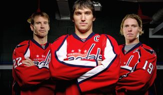 Right wing Mike Knuble (from left), left wing Alex Ovechkin and center Nicklas Backstrom constitute the bulk of the firepower on the Capitals' top two lines and serve as the foundation for leadership. They again will be counted on to provide ample offense as Washington takes aim at its first Stanley Cup. (Andrew Harnik/The Washington Times)