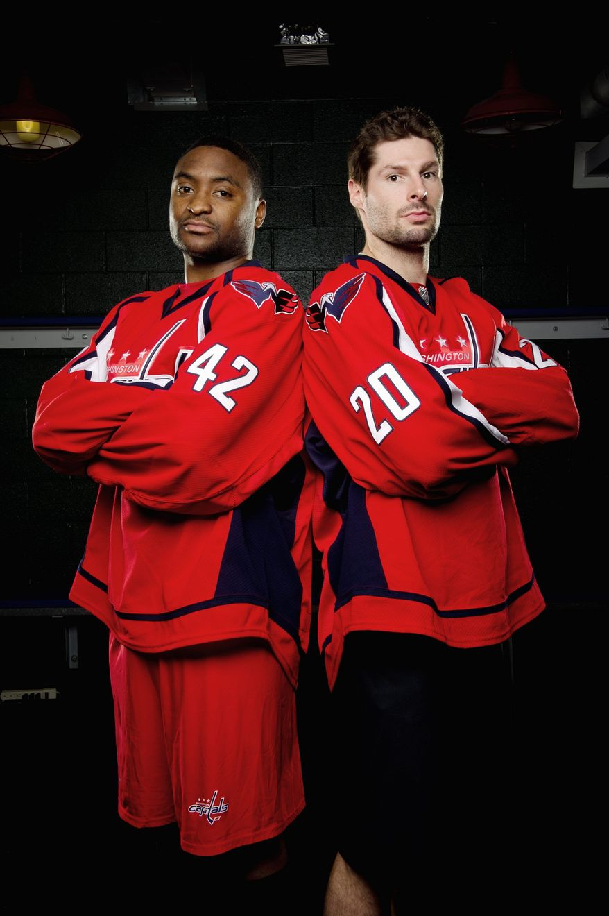Offseason acquisitions Joel Ward (left) and Troy Brouwer will give the Capitals a physical dimension that some critics said was lacking in the playoffs last season. Brouwer won the Stanley Cup with Chicago in 2010, and Ward was a scoring surprise with Nashville in last year's postseason. (Andrew Harnik/The Washington Times)