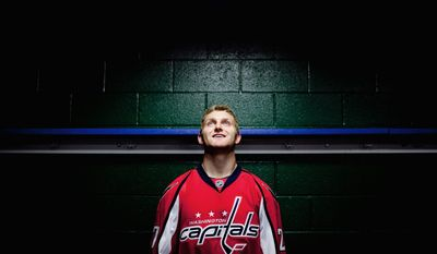 """Defenseman Karl Alzner, 23, is praised by Capitals brass for his sound technique, and he wants to add offense to his repertoire. """"I've been working on handling the puck more and making better plays."""" (Andrew Harnik/The Washington Times)"""