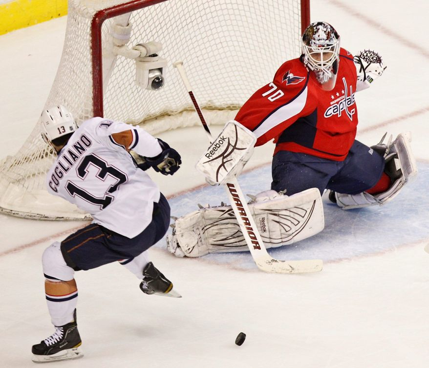 Braden Holtby fashioned a 10-2-2 record with a 1.79 goals-against average in 14 appearances with the Capitals last season. At Hershey, he was 17-10-2 with a 2.29 GAA. (Associated Press)