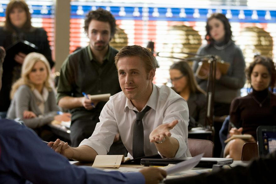 """Ryan Gosling plays a 30-year-old consultant helping manage the campaign of a Democratic presidential candidate in """"The Ides of March,"""" an adaptation of the play """"Farragut North."""" (Photograph by Sony via Associated Press)"""