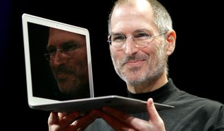 ** FILE ** In this Jan. 15, 2008, file photo, Apple CEO Steve Jobs holds up the new MacBook Air after giving the keynote address at the Apple MacWorld Conference in San Francisco. Apple on Wednesday, Oct. 5, 2011, said Jobs has died. He was 56. (AP Photo/Jeff Chiu, File)