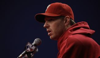 Philadelphia Phillies' Roy Halladay during a baseball news conference, Thursday, Oct. 6, 2011, in Philadelphia. The Phillies host the St. Louis Cardinals in Game 5 of the National League division series on Friday. (AP Photo/Matt Slocum)