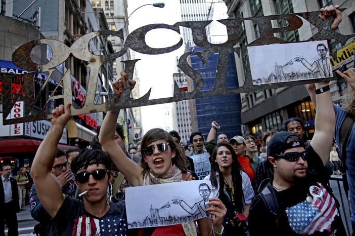 Marchers with Occupy Wall Street lead off a march that included labor unions through Lower Manhattan Wednesday, Oct. 5, 2011, in New York. Unions gave a high-profile boost to the long-running protest against Wall Street and economic inequality, with their members joining thousands of protesters in a lower Manhattan march. (AP Photo/Craig Ruttle)