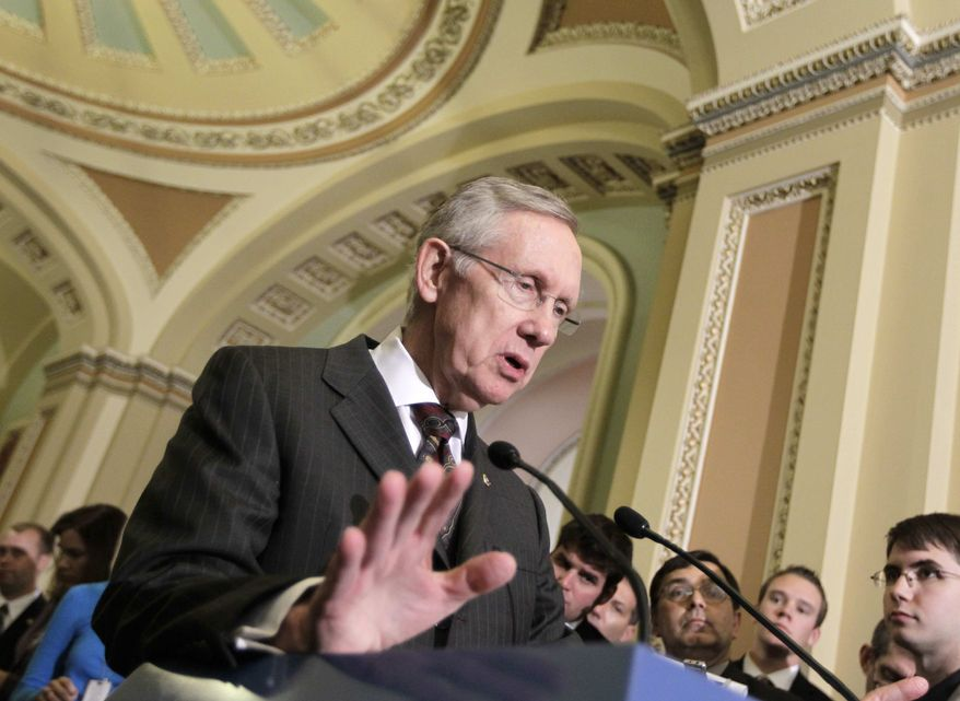 ** FILE ** Senate Majority Leader Harry Reid of Nev., meets with reporters on Capitol Hill in Washington, Tuesday, Oct. 4, 2011, after a Democratic caucus lunch. (AP Photo/J. Scott Applewhite)