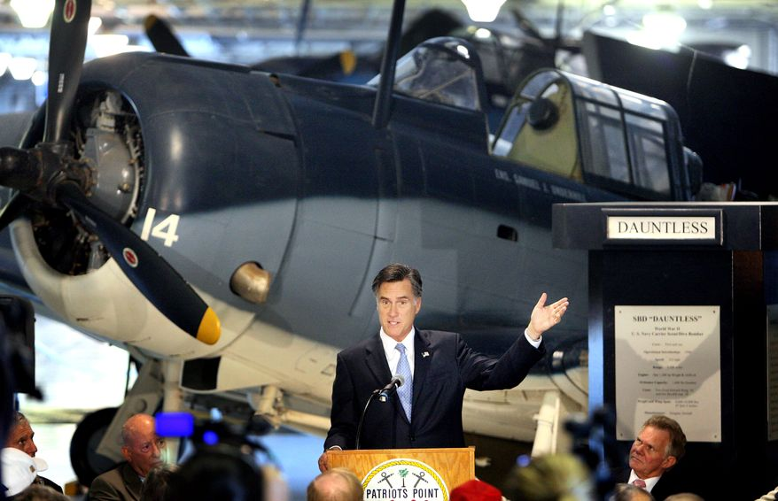Republican presidential candidate and former Massachusetts Gov. Mitt Romney speaks on Oct. 6, 2011, to supporters aboard the USS Yorktown at Patriots Point in Charleston, S.C. (Associated Press/The Post and Courier)