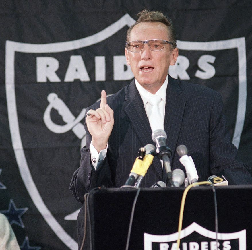 ** FILE ** In this Friday, Aug. 22, 1987, file photo, Los Angeles Raiders Managing General Partner Al Davis discusses the agreement he has signed with the city of Irwindale, Calif., during a news conference in El Segundo, Calif. Davis, the Hall of Fame owner of the Oakland Raiders known for his rebellious spirit, has died. The team announced his death at age 82 on Saturday, Oct. 8, 2011. (AP Photo/Bob Galbraith)