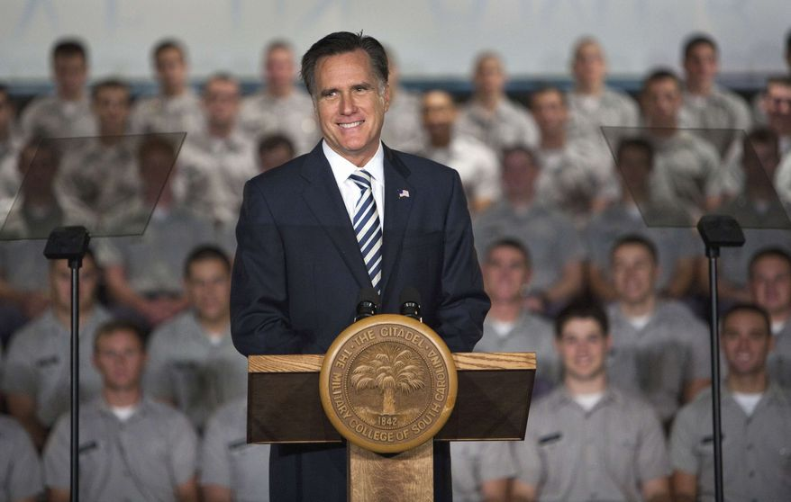 Republican presidential candidate, former Massachusetts Gov. Mitt Romney speaks to Citadel cadets and supporters during a campaign speech inside Mark Clark Hall on The Citadel campus in Charleston, S.C., Friday, Oct. 7, 2011. (AP Photo/Mic Smith)