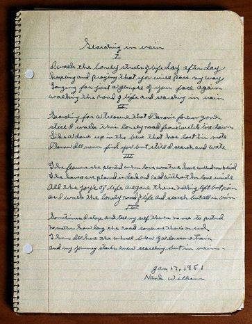 "A notebook that belonged to country music legend Hank Williams included lyrics to a song titled ""Searching in Vain."" A collection of unfinished Williams lyrics were burnished and recorded by Merle Haggard, Norah Jones and others. (Associated Press)"