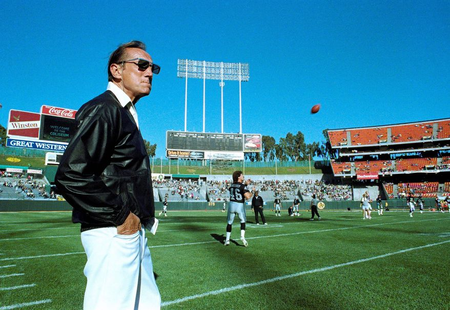 """Raiders owner Al Davis (seen here), who died Saturday, carried on a long feud with Mike Shanahan, a former Raiders coach. But Shanahan, now with the Redskins, said, """"I never met a guy that had more passion and worked harder than Al Davis."""" (Associated Press)"""