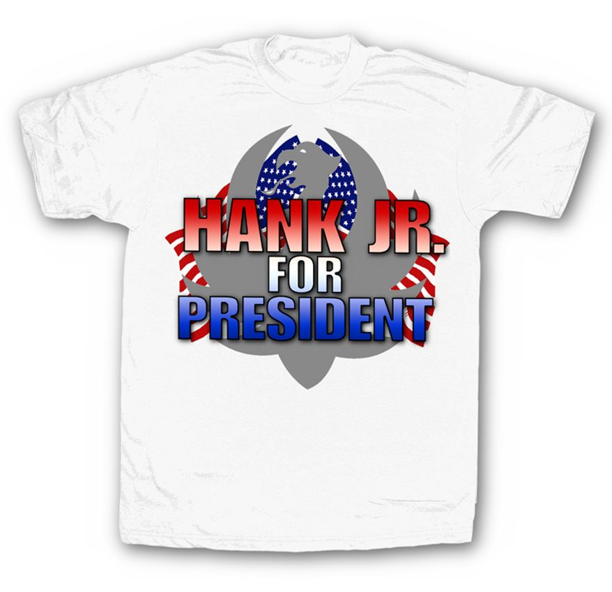 "Along with a new protest tune, country crooner Hank Williams, Jr. is now selling ""Hank Williams for President"" t-shirts to answer critics upset after the singer compared President Obama to Hitler. (Image from HankJr.com)"