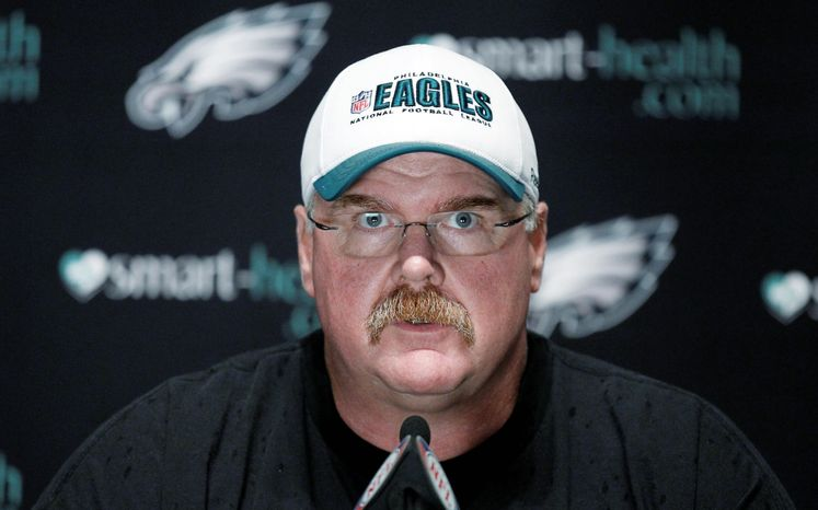 Philadelphia coach Andy Reid has seven NFC East championships to his credit, but this year's Eagles (1-4) have fallen on hard times. (Associated Press)