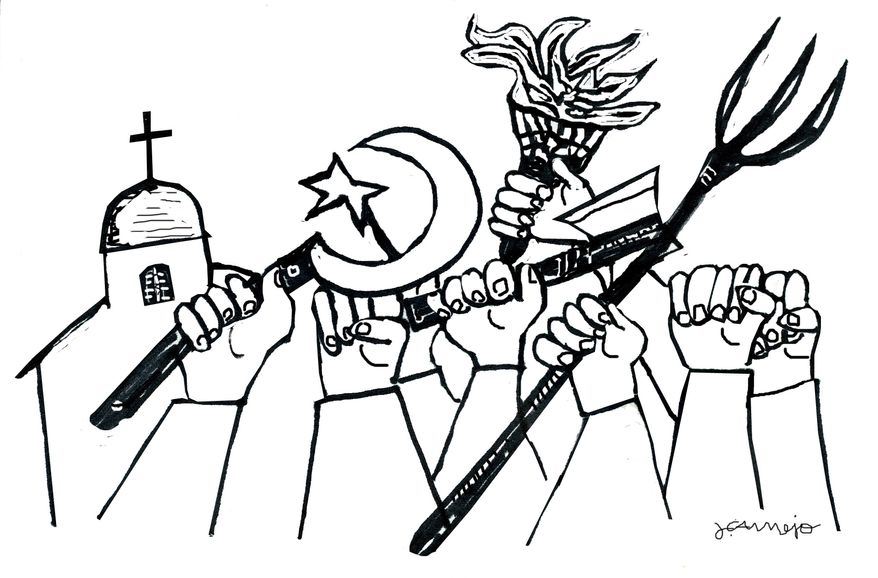 Illustration: Egypt conflict by John Camejo for The Washington Times