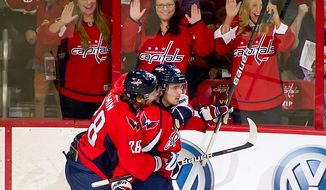 Center Marcus Johansson (right) was a healthy scratch Saturday against Carolina for the Capitals' season opener, but he responded in the team's second game with a goal and an assist Monday against Tampa Bay. (Andrew Harnik/The Washington Times)