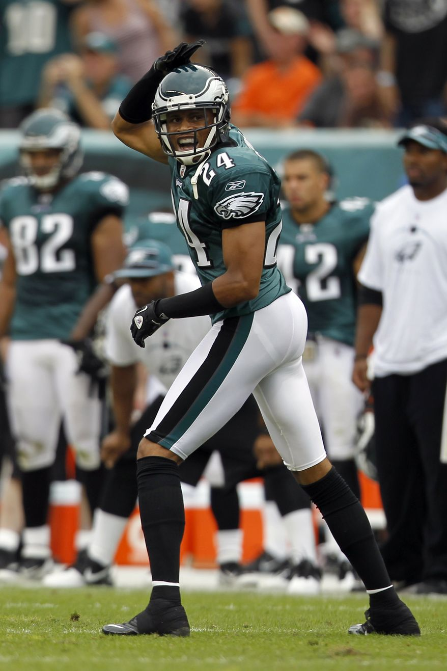 Philadelphia Eagles cornerback Nnamdi Asomugha spoke to reporters on Wednesday and said he and his teammates knew that the team wouldn't be perfect right away, despite many experts pegging them as one of the top teams in the NFC. The Eagles, with one win on the year, have struggled thus far and face the Redskins on Sunday. (AP Photo/Alex Brandon)