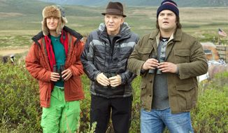 "Owen Wilson, Steve Martin and Jack Black (from left) put aside everything else to travel while they try to spot the most number of bird species in a year in ""The Big Year."" The film is based on the book by Mark Obmascik. (Twentieth Century Fox via Associated Press)"