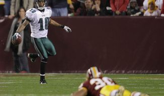 Eagles wide receiver DeSean Jackson celebrated after scoring a touchdown as Redskins safety LaRon Landry could only watch during Philadelphia's 59-28 Monday night win last Nov. 15. (Associated Press)