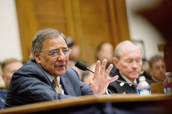 Defense Secretary Leon E. Panetta on Thursday tells the House Armed Services Committee of budget-cut concerns. (Andrew Harnik/The Washington Times)