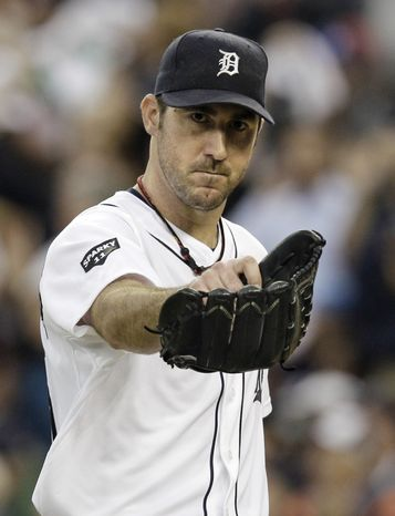 Detroit Tigers' Justin Verlander lasted 7 1/3 innings, allowed four runs and struck out eight against the Texas Rangers on Thursday. (AP Photo/Paul Sancya)