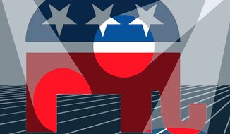 Illustration: GOP changing lead by Alexander Hunter for The Washington Times