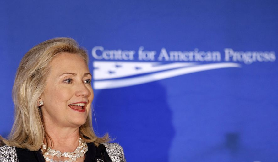 Then-Secretary of State Hillary Rodham Clinton speaks about American global leadership on Oct. 12, 2011, during an event hosted by the Center for American Progress in Washington. (Associated Press)