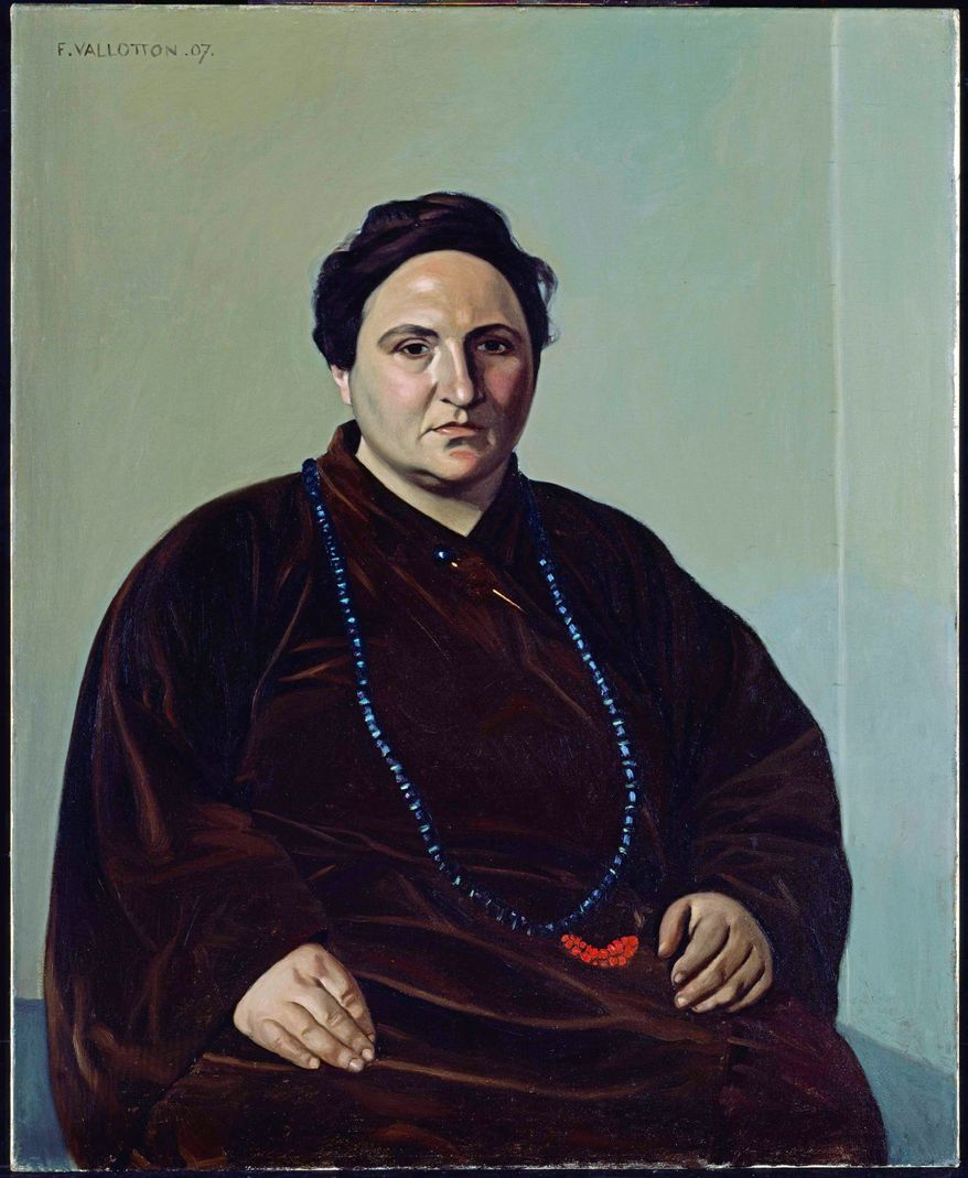 Portrait of Gertrude Stein by Felix Edouard Valloton, oil on canvas, 1907. Early portrait of Stein portrayed in a typical, flowing brown robe. (National Portrait Gallery)