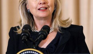 ** FILE ** Secretary of State Hillary Rodham Clinton. (Associated Press)