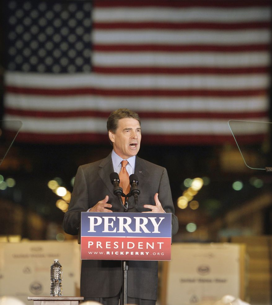 Texas Gov. Rick Perry speaks about energy and environmental regulations at the United States Steel Mon Valley Works Irvin Plant in West Mifflin, Pa., Friday, Oct. 14, 2011. (AP Photo/Keith Srakocic)