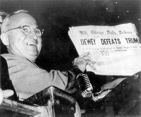 In 1948, Harry S. Truman displayed a copy of the Chicago Tribune that incorrectly reported he had lost the presidential election to Thomas E. Dewey. Truman ultimately won re-election while running against a do-nothing Congress. (Associated Press)