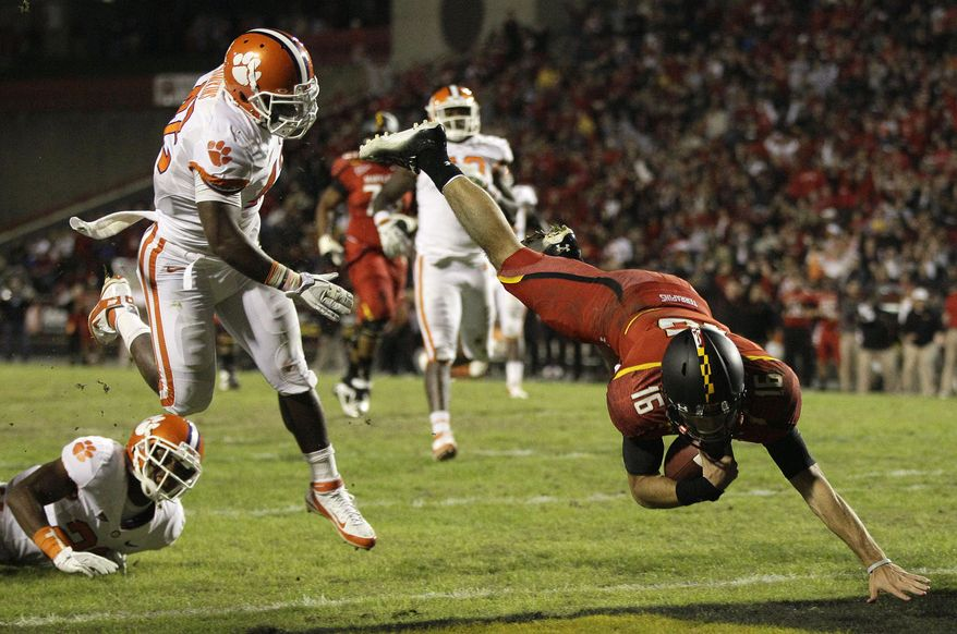 Maryland quarterback C.J. Brown threw for 177 yards, three touchdowns and an interception against Clemson on Saturday.  He also rushed rushed for a touchdown on 162 yards. (AP Photo/Patrick Semansky)