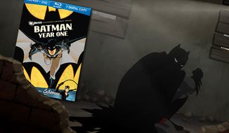 An animated Dark Knight hides in the shadows in the Blu-ray release of Batman: Year One.