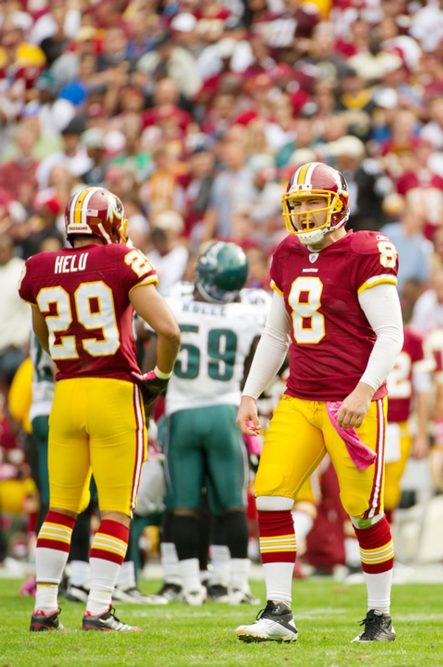 Washington Redskins quarterback Rex Grossman (8) reacts after an incomplete pass against the Philadelphia Eagles during the third quarter. (Rod Lamkey Jr. / The Washington Times)