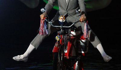 In character as Pee-wee Herman, Paul Reubens makes his entrance at the Spike TV Scream Awards on Saturday. The show, which honors entertainers from the worlds of horror, fantasy and sci-fi, will be broadcast Tuesday on Spike TV and VH1. (Associated Press)