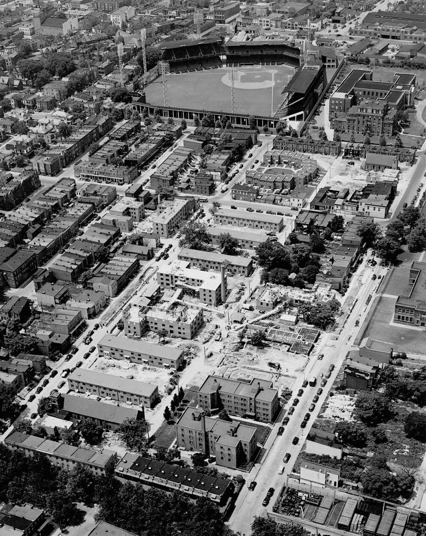 This aerial view of shows Griffith Stadium circa 1941. The 1924 Washington Senators won the World Series playing in the ballpark. (CULTURAL TOURISM DC)