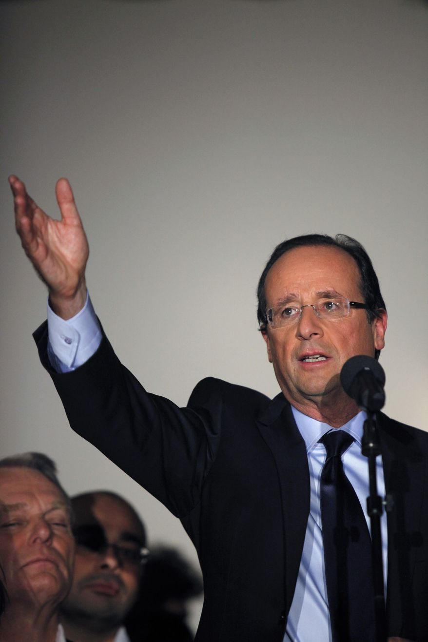 Francois Hollande, who won the vote for the French Socialist Party's presidential candidate, speaks in Paris on Sunday, Oct. 16, 2011. (AP Photo/Thibault Camus)