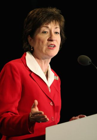Sen. Susan Collins, Maine Republican, introduced the amendment to block the U.S. Department of Agriculture from limiting potatoes or other vegetables in school lunches. She cited additional costs on school districts that would result. (Associated Press)