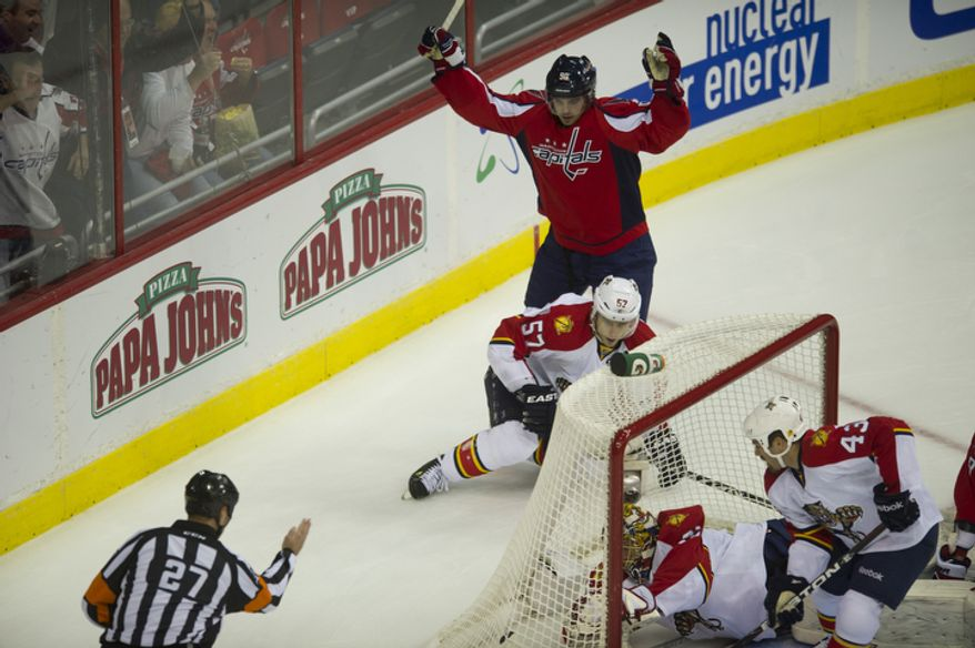 Marcus Johansson (90) of the Washington Capitals celebrates his goal against the Florida Panthers in the first period as the Capitals host the Panthers at the Verizon Center in Washington,D.C., Tuesday, October 18, 2011. (Rod Lamkey Jr/The Washington Times)