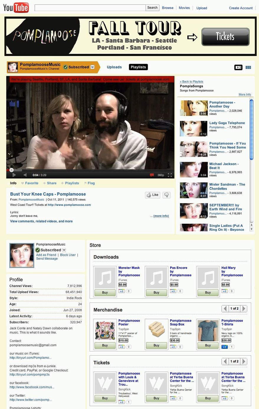 The YouTube channel page for Pomplamoose shows video of the Northern California indie duo performing and offers for sale downloads, T-shirts and concert tickets. (YouTube and Associated Press)