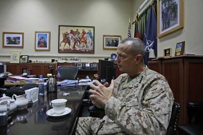 U.S. Marine Gen. John R. Allen, the top NATO commander in Afghanistan, gives an interview to the Associated Press in Kabul, Afghanistan, on Wednesday, Oct. 19, 2011. (AP Photo/Muhammed Muheisen)