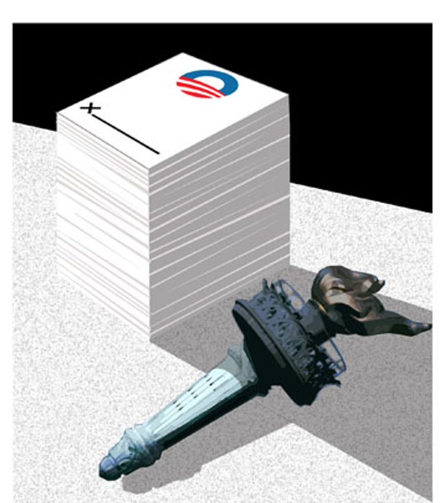 Illustration: Claptrap legislation by Alexander Hunter for The Washington Times