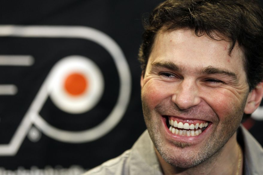 The Flyers' Jaromir Jagr will play the Capitals on Thursday for the first time since his return from Russia's KHL. (AP Photo/Alex Brandon, File)