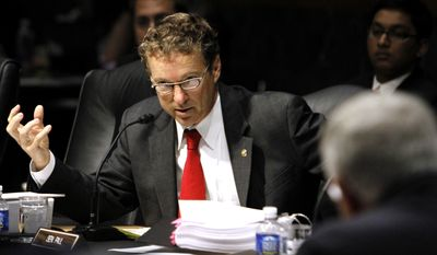 Sen. Rand Paul, Kentucky Republican, speaks during a discussion by the Senate Committee on Health, Education, Labor and Pensions of legislation for the Elementary and Secondary Education Reauthorization Act, on Capitol Hill in Washington on Wednesday, Oct. 19, 2011. (AP Photo/Jacquelyn Martin)