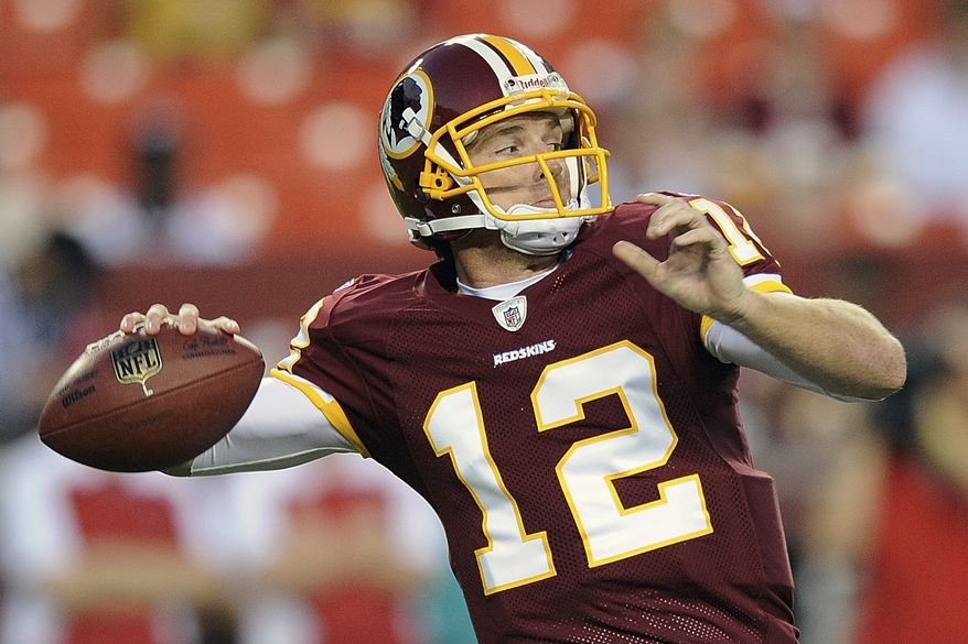 Washington Redskins quarterback John Beck was named the starter for Sunday's game against the Carolina Panthers by coach Mike Shanahan on Wednesday. (AP Photo/Nick Wass, File)