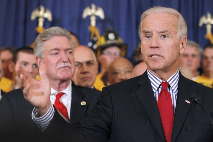 Vice President Joseph R. Biden Jr. (right) speaks Oct. 19, 2011, during a news conference urging the passage of the Teachers and First Responders Back to Work Act on Capitol Hill. (Associated Press)