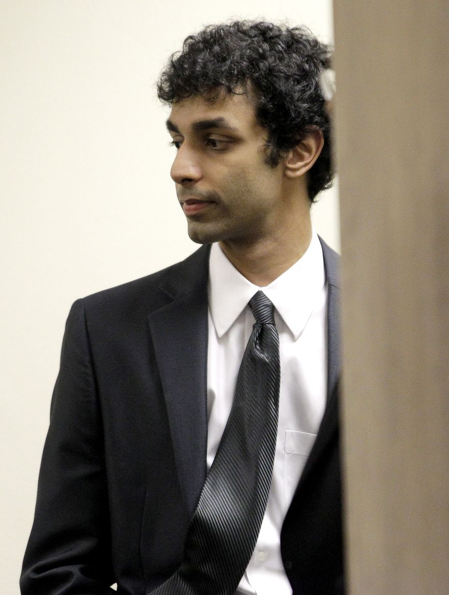 ** FILE ** Dharun Ravi appears in court at the Middlesex County Courthouse in New Brunswick, N.J., on Thursday, Oct. 20, 2011, for a hearing in the webcam-spying case involving the suicide of Rutgers University student Tyler Clementi. (AP Photo/Julio Cortez)
