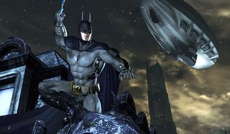 The Dark Knight prepares to strike in the video game Batman: Arkham City.