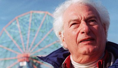 "Author Joseph Heller visited Coney island in 1998, a year before his death. His old neighborhood in Brooklyn was the subject of the memoir he wrote in later life, ""Now and Then."" (Associated Press)"