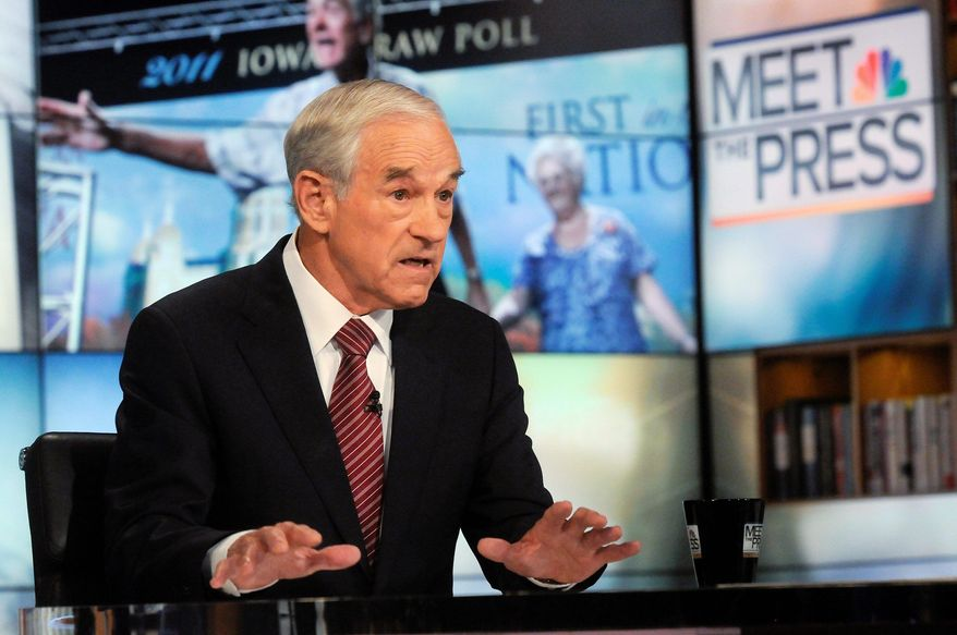 """Rep. Ron Paul, Texas Republican, said on NBC's """"Meet the Press"""" Sunday that he wants to end federal student loans, calling it a failed program that has put students in debt when there are no jobs and when the quality of education has deteriorated. As president, he said he would eliminate five federal agencies. (NBC via Associated Press)"""