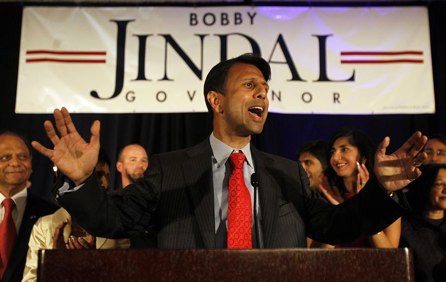 ** FILE ** Louisiana Gov. Bobby Jindal thanks supporters during his re-election victory party at the Renaissance Hotel in Baton Rouge, La., on Saturday, Oct. 22, 2011. (AP Photo/New Orleans Times-Picayune, Michael DeMocker)